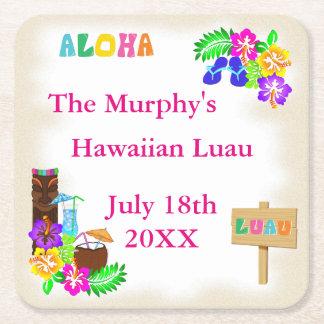 Hawaiische Luau Getränk-Untersetzer Rechteckiger Pappuntersetzer