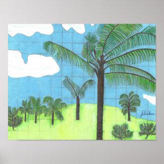 Hawaiische Palmen durch Julia Hanna Poster
