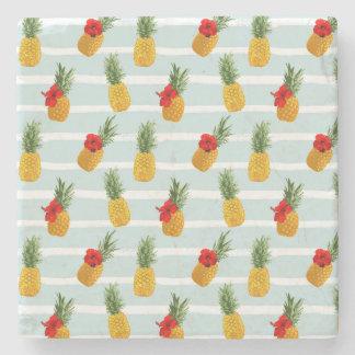 Hawaiische Sommer-Ananas-nahtloses Muster Steinuntersetzer