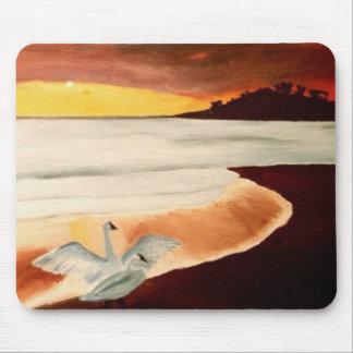 Hawaiische Sonnenuntergang-Wasser-Vögel an Strand Mousepads