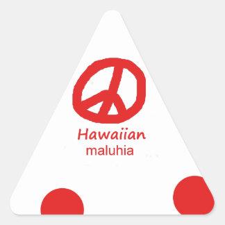 Hawaiische Sprache und Friedenssymbol-Entwurf Dreieckiger Aufkleber
