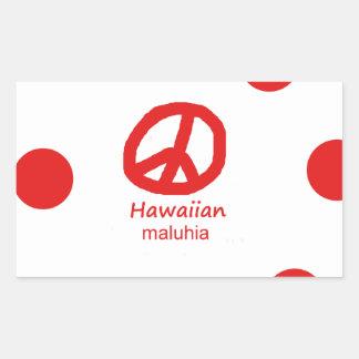 Hawaiische Sprache und Friedenssymbol-Entwurf Rechteckiger Aufkleber
