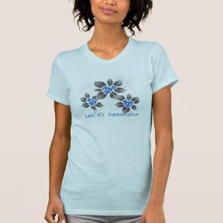 Hawaiische Stechpalmen-Chanukka-blaues Blumen T-Shirt