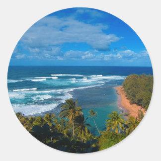 Hawaiische tropische Insel Runder Aufkleber