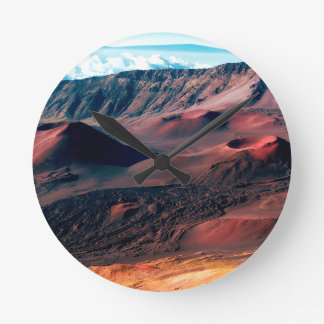 Hawaiische Vulkan-Krater-Felder Runde Wanduhr