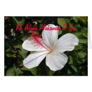 Hawaiische wertvolle Liebe-weiße Hibiskus-Karte Grußkarte