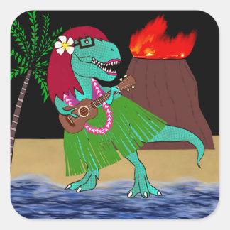 Hawaiischer DinosaurierUkulele Quadratischer Aufkleber