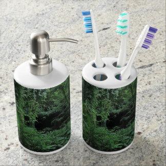 Hawaiischer Dschungel Seifenspender & Zahnbürstenhalter