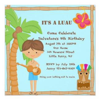 Hawaiischer Junge Luau quadratische Quadratische 13,3 Cm Einladungskarte