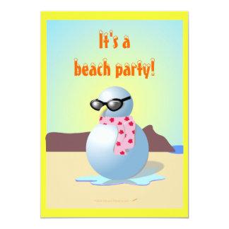 Hawaiischer Snowman-lädt lustiges Strand-Party Individuelle Ankündigungskarte