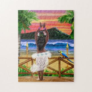 Hawaiischer Sonnenuntergang Hula Tänzer Puzzle