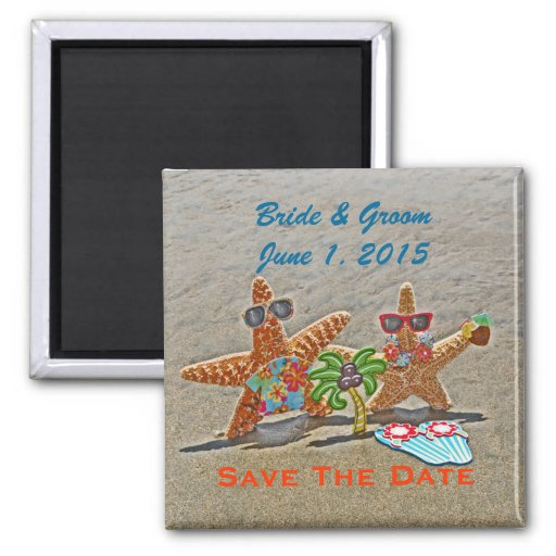 Hawaiischer Starfish-Paar-Save the Date Magnet Kühlschrankmagnet
