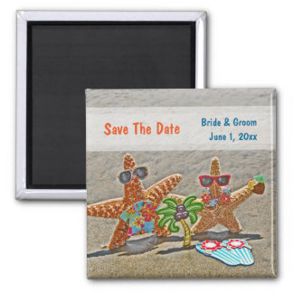Hawaiischer Starfish-Paar-Save the Date Magnet Quadratischer Magnet
