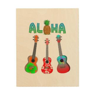 Hawaiischer Ukulele Aloha Hawaii Holzleinwand