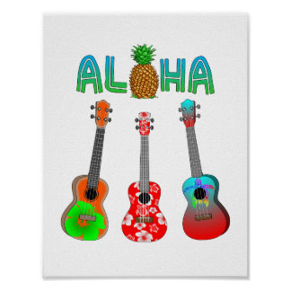 Hawaiischer Ukulele Aloha Hawaii Poster