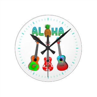 Hawaiischer Ukulele Aloha Hawaii Runde Wanduhr
