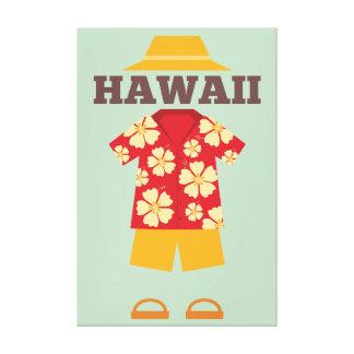 Hawaiisches Ausstattungs-Hut-Shirt schließt Leinwanddruck