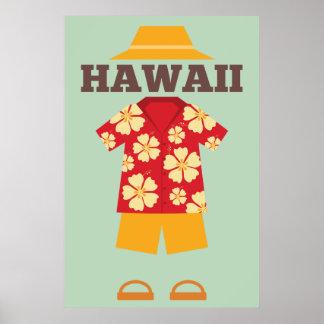 Hawaiisches Ausstattungs-Hut-Shirt schließt Poster