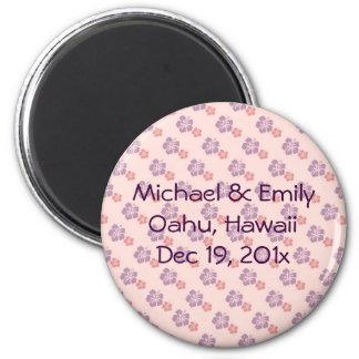 Hawaiisches Blumenrosa und lila Runder Magnet 5,7 Cm