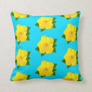 Hawaiisches Hibiskus-Gelb-Blumen-Kissen, Ihr BILD Kissen