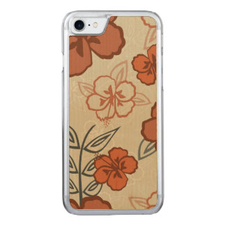 Hawaiisches Hibiskus-Muster Browns Carved iPhone 8/7 Hülle