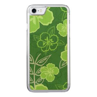 Hawaiisches Hibiskus-Muster-Grün Carved iPhone 8/7 Hülle