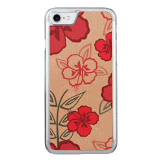 Hawaiisches Hibiskus-Muster-Rot Carved iPhone 8/7 Hülle