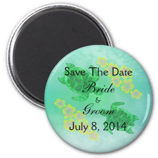 Hawaiisches Honu Save the Date Runder Magnet 5,7 Cm