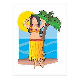 hawaiisches hula Mädchen Postkarte