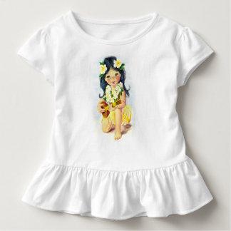 Hawaiisches Leu-Mädchen mit Ukulele-Rüsche-T-Shirt Kleinkind T-shirt