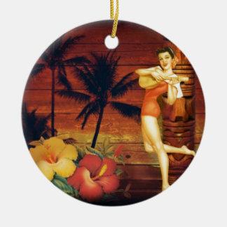 hawaiisches Mädchen des tropischen Keramik Ornament