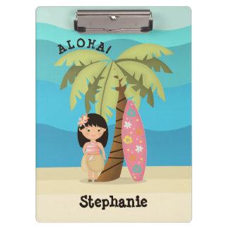 Hawaiisches Surfer-Mädchen Klemmbrett