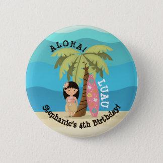 Hawaiisches Surfer-Mädchen Runder Button 5,1 Cm