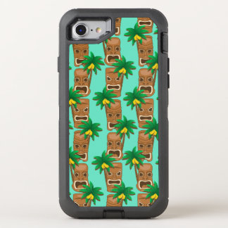 Hawaiisches Tiki Wiederholungs-Muster OtterBox Defender iPhone 8/7 Hülle