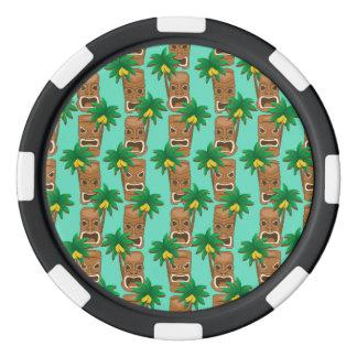 Hawaiisches Tiki Wiederholungs-Muster Poker Chips Set