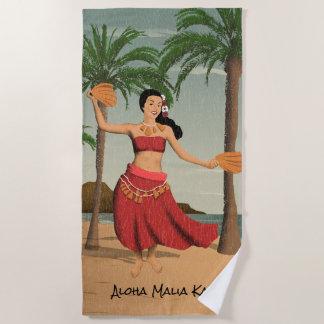 Hawaiisches Vintages beunruhigtes Strandtuch