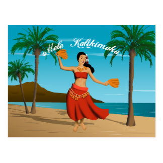 Hawaiisches Vintages Mele Kalikimaka kundengerecht Postkarte