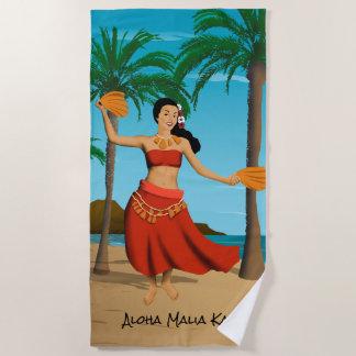 Hawaiisches Vintages Postkarten-Monogramm im Blau Strandtuch