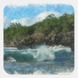 Hawaiisches Wasser Quadratischer Aufkleber