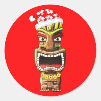 Hawaiisches Weihnachten Sankt Tiki Runder Aufkleber