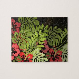 Hawaiisurfer-Aloha Blumen-Kunst-Druck mit Blumen Puzzle