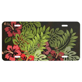 Hawaiisurfer-Aloha Blumen-Kunst-Druck mit Blumen US Nummernschild