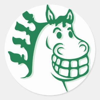 Hazienda-Heu u. füttert grünes Pferd Runder Aufkleber