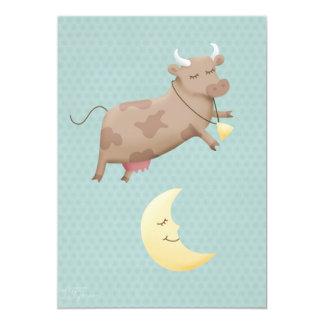 He diddle diddle, die Kuh, die über den Mond 12,7 X 17,8 Cm Einladungskarte