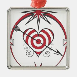 heart112 quadratisches silberfarbenes ornament
