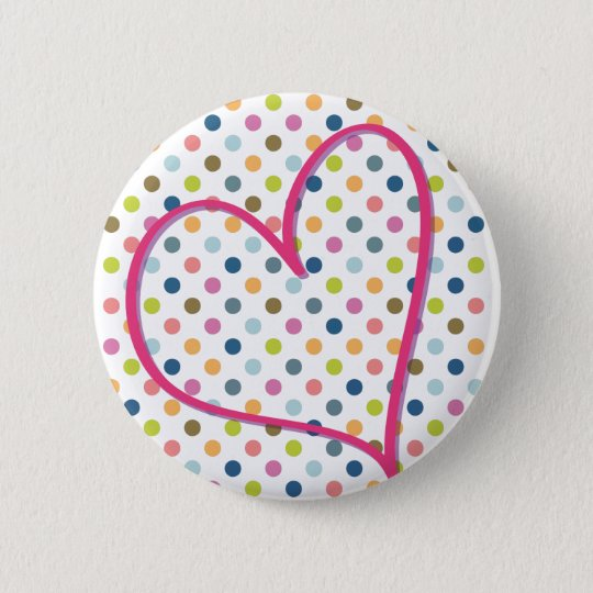 Heart and Colorful Dots Runder Button 5,7 Cm