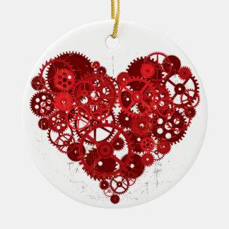 Heart_Gears_01 Rundes Keramik Ornament