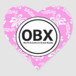 Heart OBX Outer Banks Pink Flower Stickers