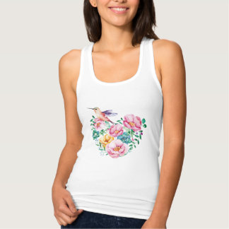 """Heart with bird "" Tank Top"