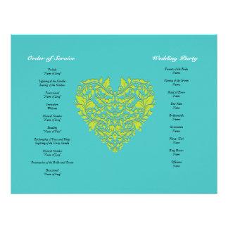 HeartyParty Türkis und Limones Damast-Herz 21,6 X 27,9 Cm Flyer